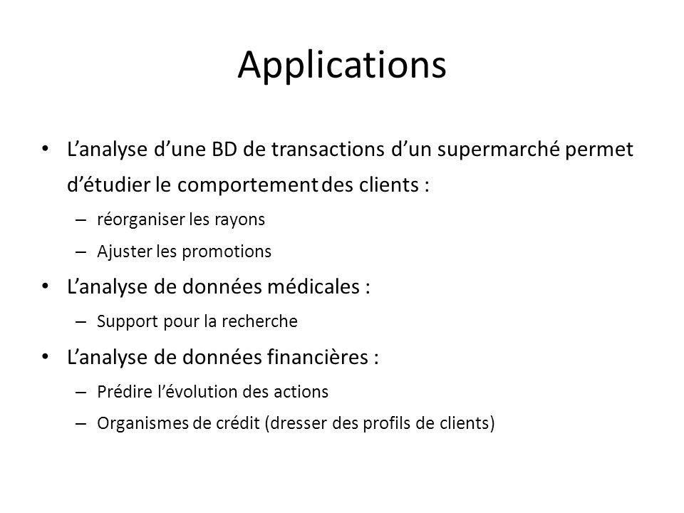 Applications L'analyse d'une BD de transactions d'un supermarché permet d'étudier le comportement des clients :