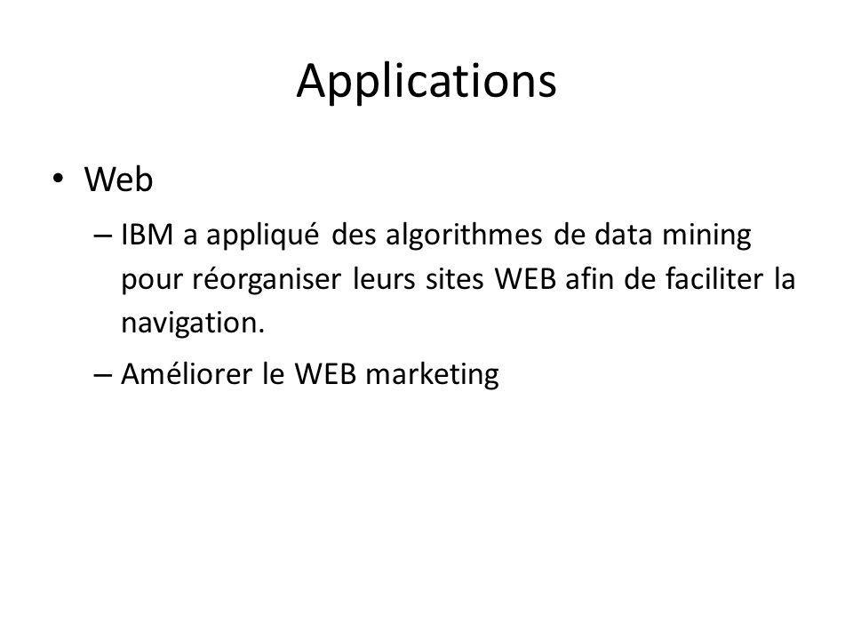 Applications Web. IBM a appliqué des algorithmes de data mining pour réorganiser leurs sites WEB afin de faciliter la navigation.