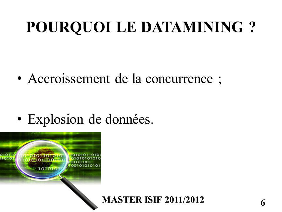 POURQUOI LE DATAMINING