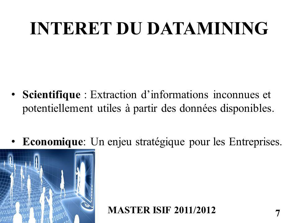 INTERET DU DATAMINING Scientifique : Extraction d'informations inconnues et potentiellement utiles à partir des données disponibles.