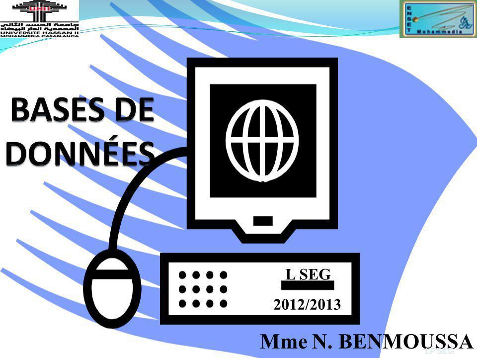 BASES DE DONNÉES Mme N. BENMOUSSA L SEG 2012/2013