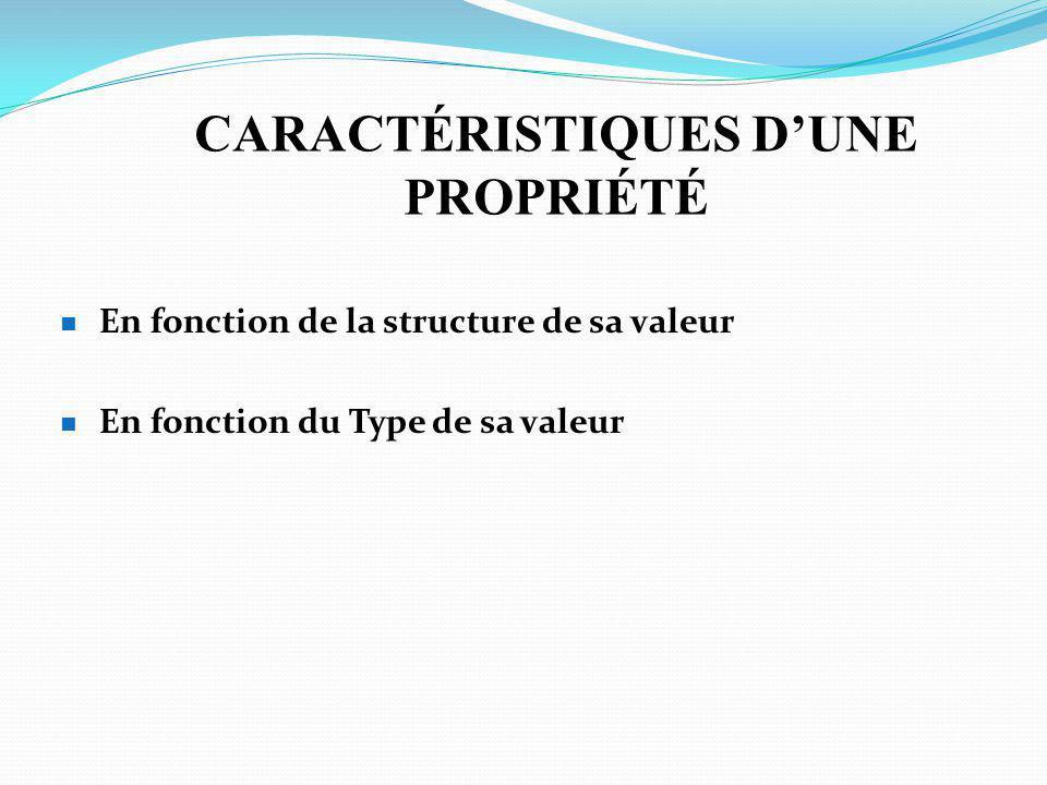 CARACTÉRISTIQUES D'UNE PROPRIÉTÉ