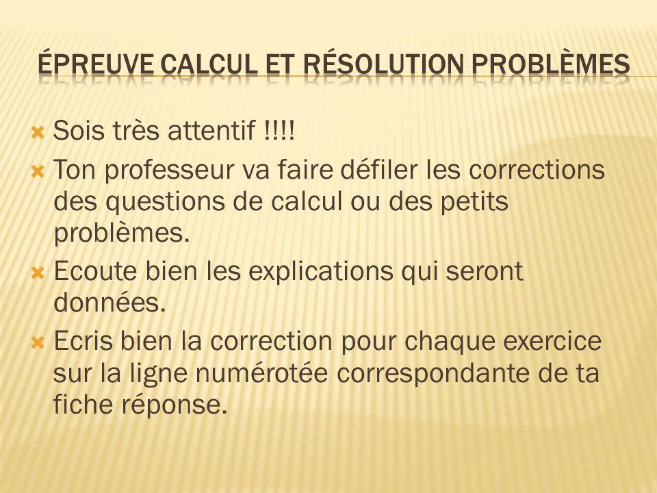 épreuve calcul et résolution problèmes