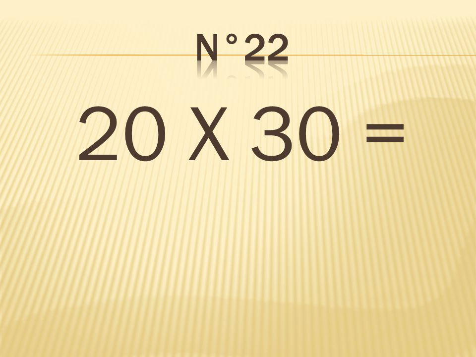 n°22 20 X 30 = 600