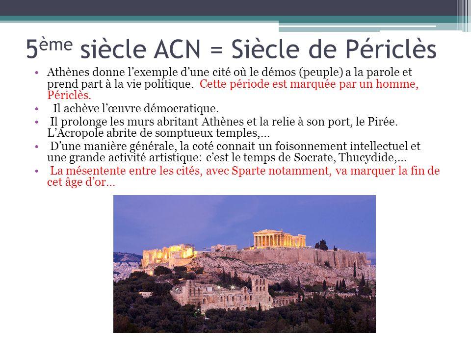 5ème siècle ACN = Siècle de Périclès