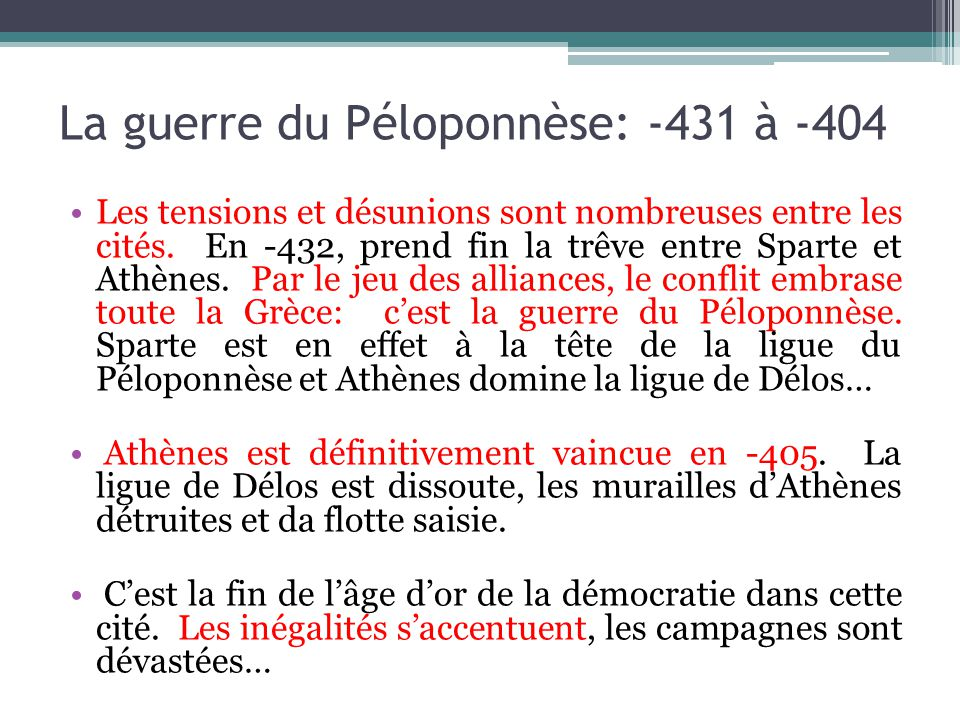 La guerre du Péloponnèse: -431 à -404