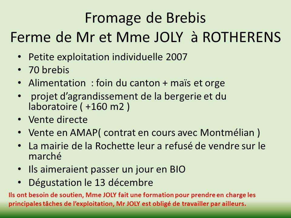 Fromage de Brebis Ferme de Mr et Mme JOLY à ROTHERENS