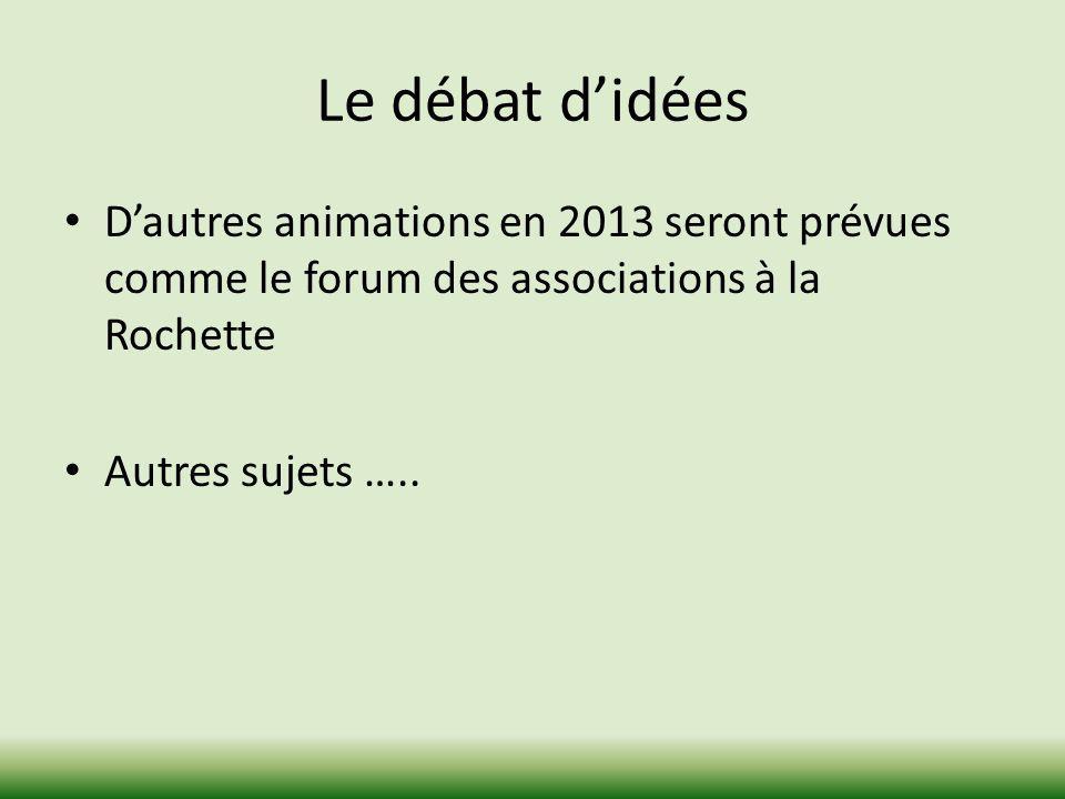 Le débat d'idées D'autres animations en 2013 seront prévues comme le forum des associations à la Rochette.