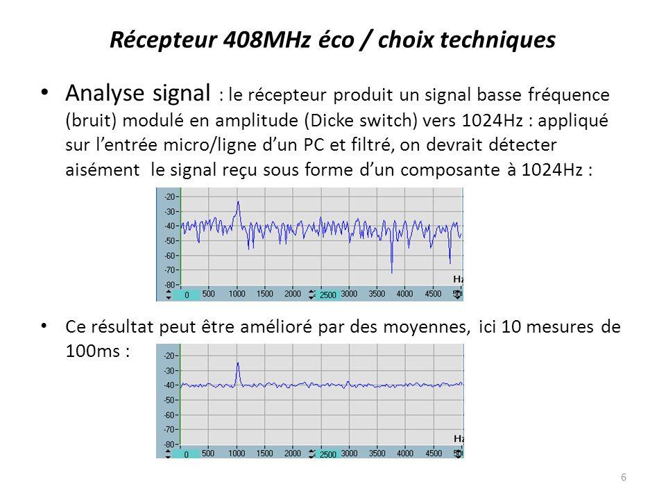 Récepteur 408MHz éco / choix techniques