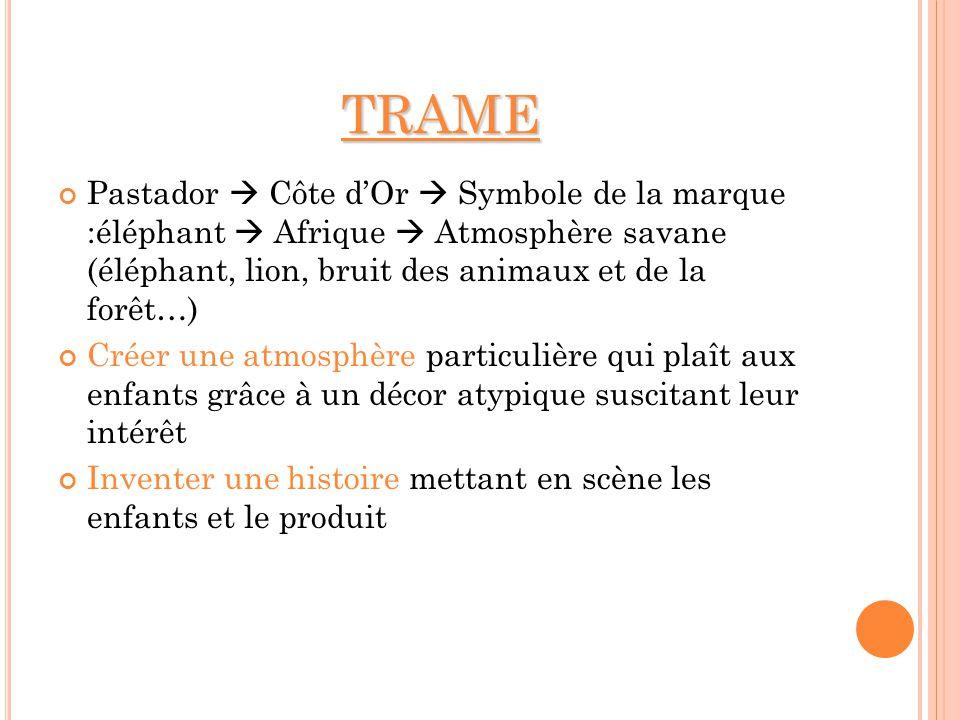 TRAME Pastador  Côte d'Or  Symbole de la marque :éléphant  Afrique  Atmosphère savane (éléphant, lion, bruit des animaux et de la forêt…)