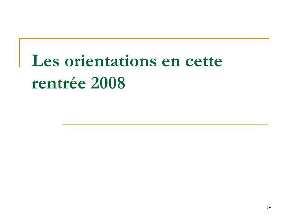 Les orientations en cette rentrée 2008
