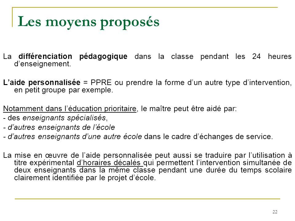 Les moyens proposés La différenciation pédagogique dans la classe pendant les 24 heures d'enseignement.