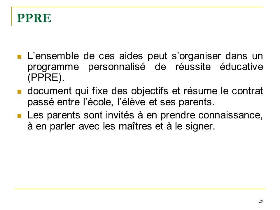 PPRE L'ensemble de ces aides peut s'organiser dans un programme personnalisé de réussite éducative (PPRE).