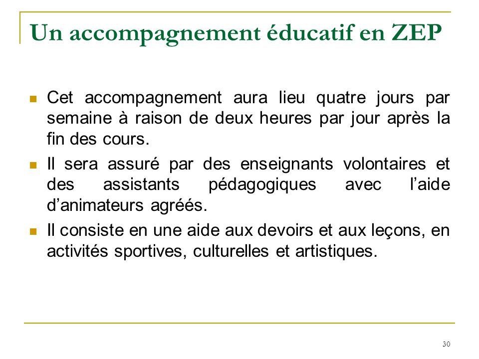 Un accompagnement éducatif en ZEP