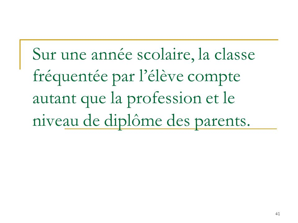 Sur une année scolaire, la classe fréquentée par l'élève compte autant que la profession et le niveau de diplôme des parents.