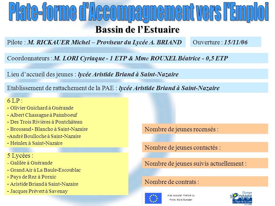 Bassin de l'Estuaire Pilote : M. RICKAUER Michel – Proviseur du Lycée A. BRIAND. Ouverture : 15/11/06.