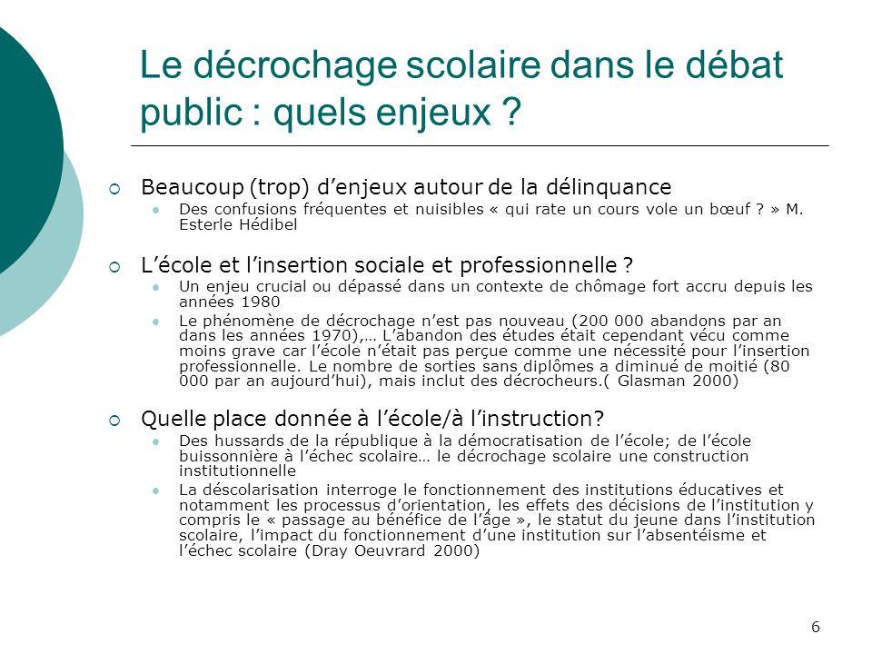 Le décrochage scolaire dans le débat public : quels enjeux