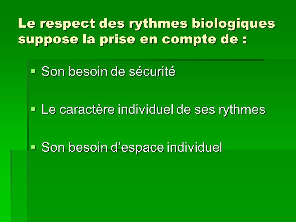 Le respect des rythmes biologiques suppose la prise en compte de :