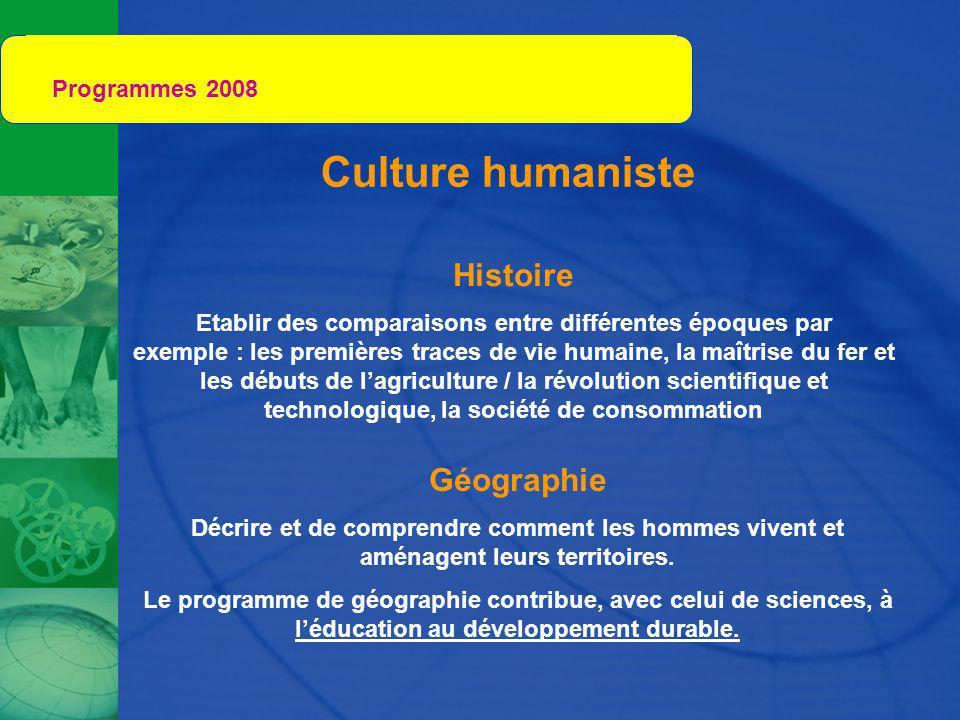 Programmes 2008 Culture humaniste Histoire Géographie