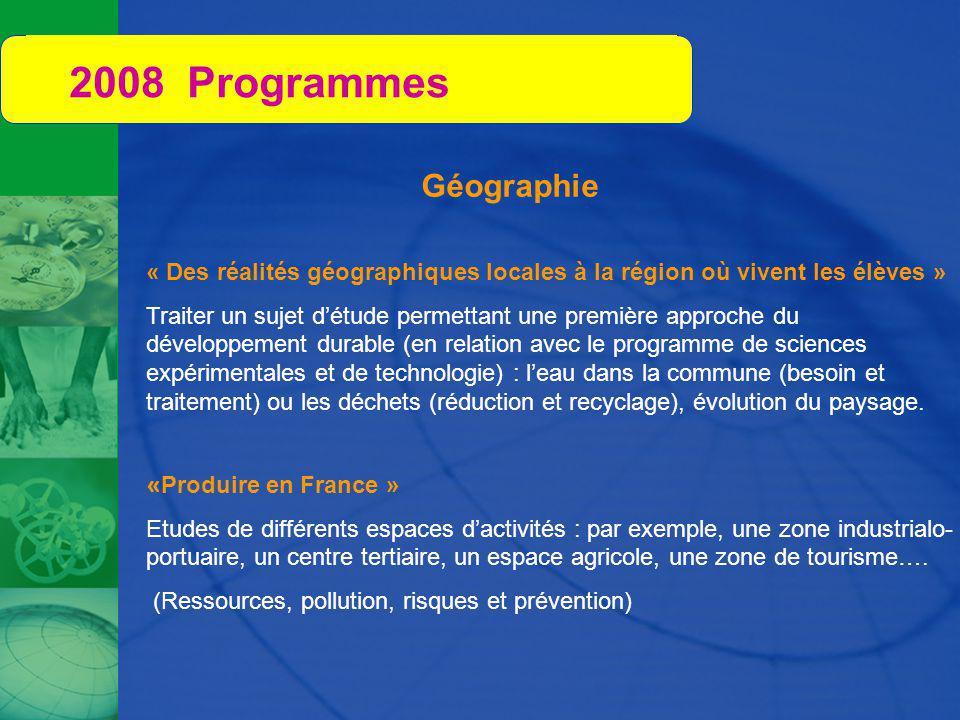 2008 Programmes Géographie