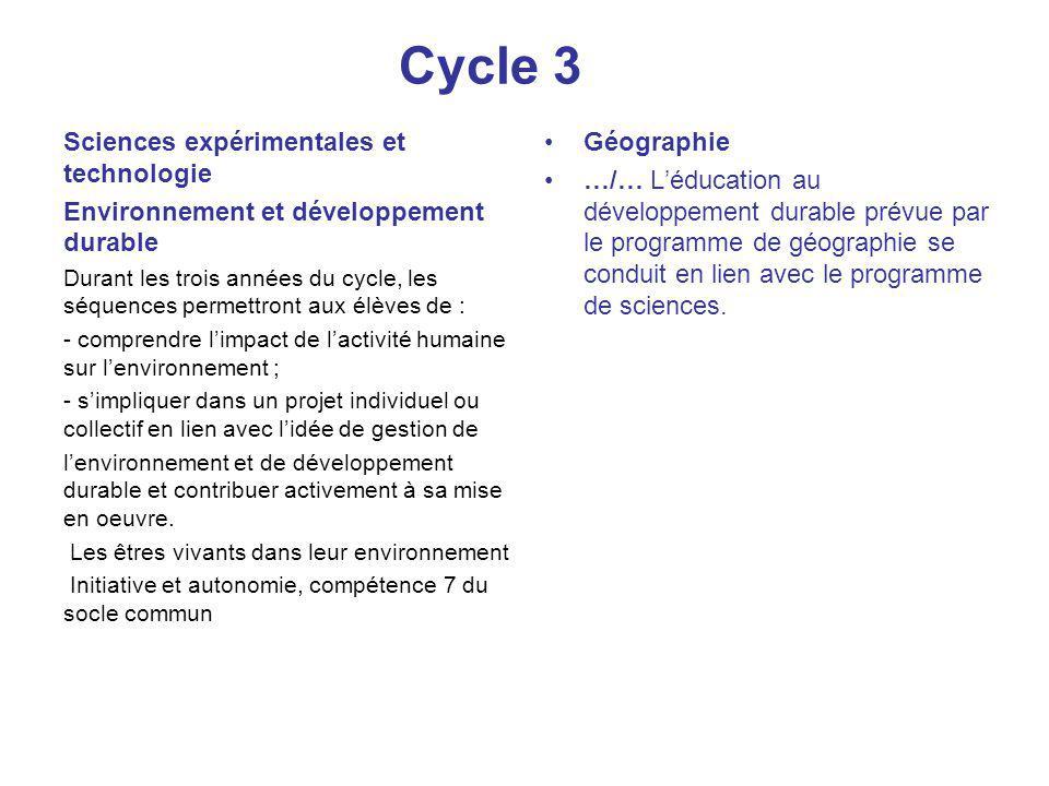 Cycle 3 Sciences expérimentales et technologie