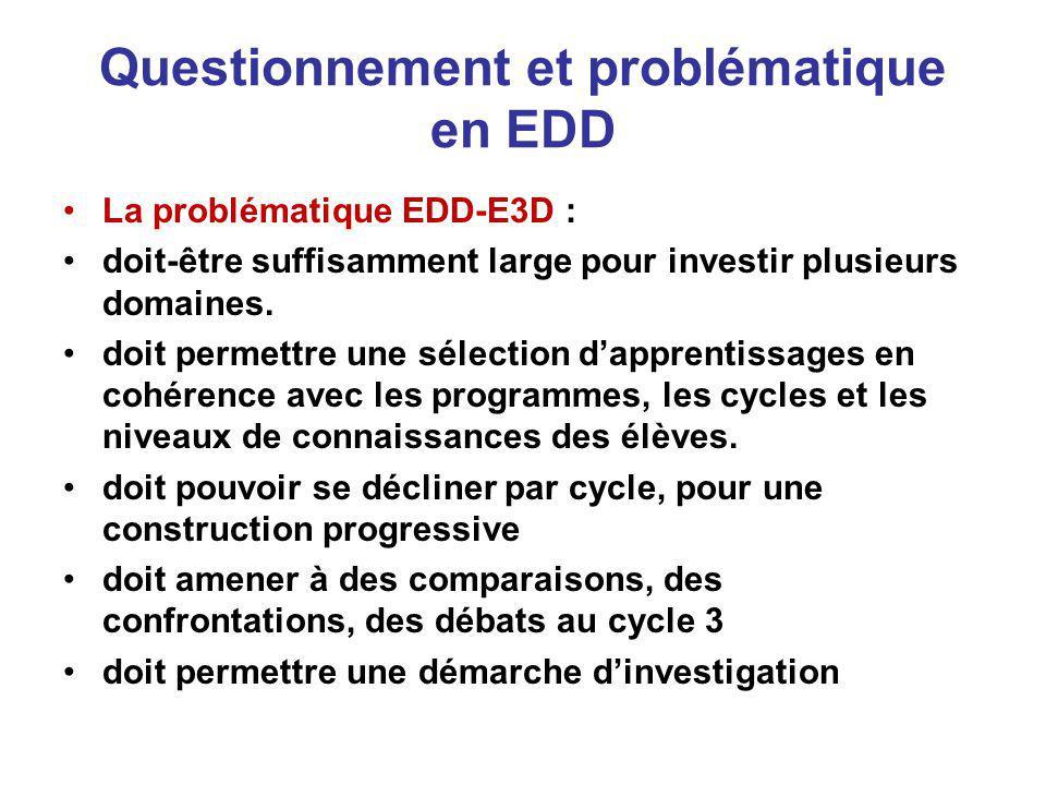 Questionnement et problématique en EDD