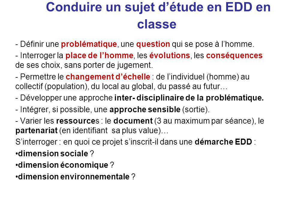 Conduire un sujet d'étude en EDD en classe