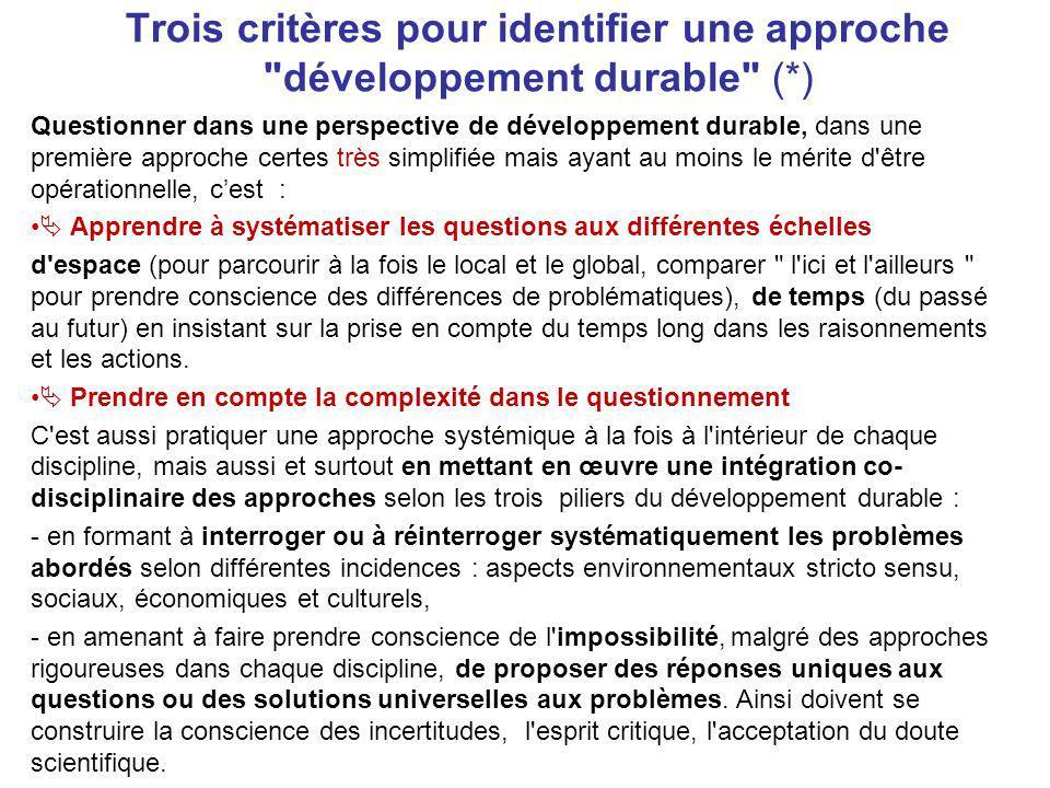 Trois critères pour identifier une approche développement durable (
