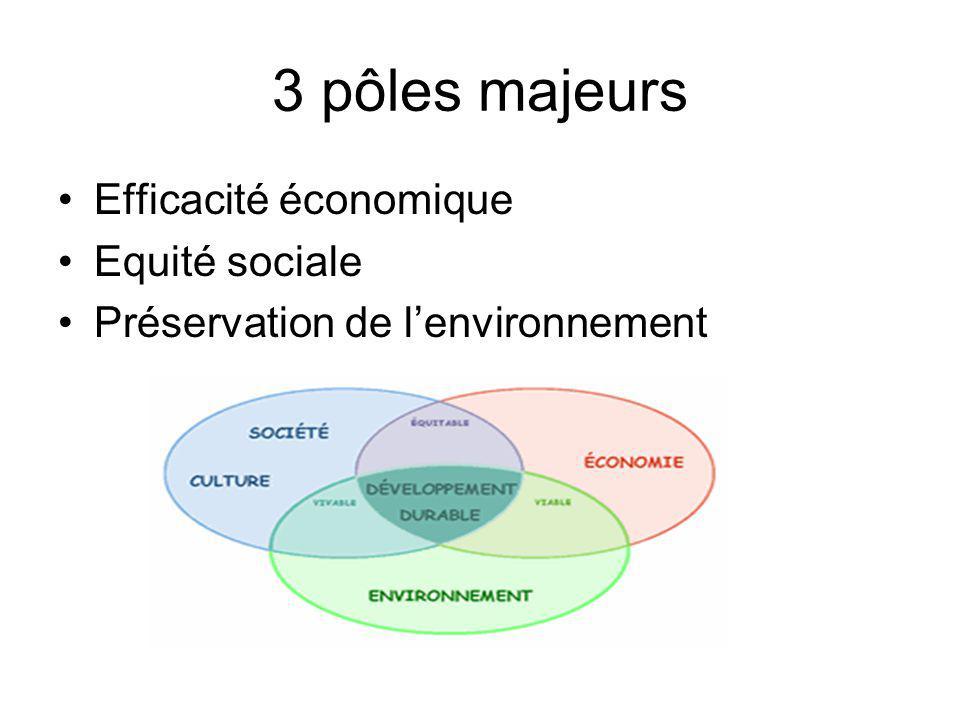 3 pôles majeurs Efficacité économique Equité sociale