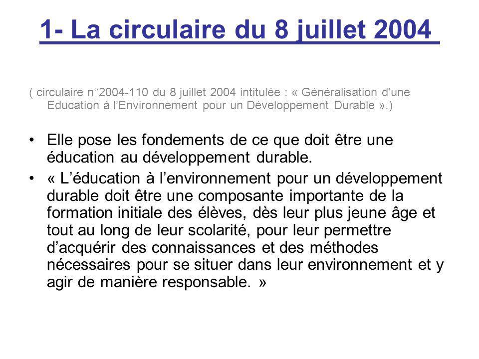 1- La circulaire du 8 juillet 2004
