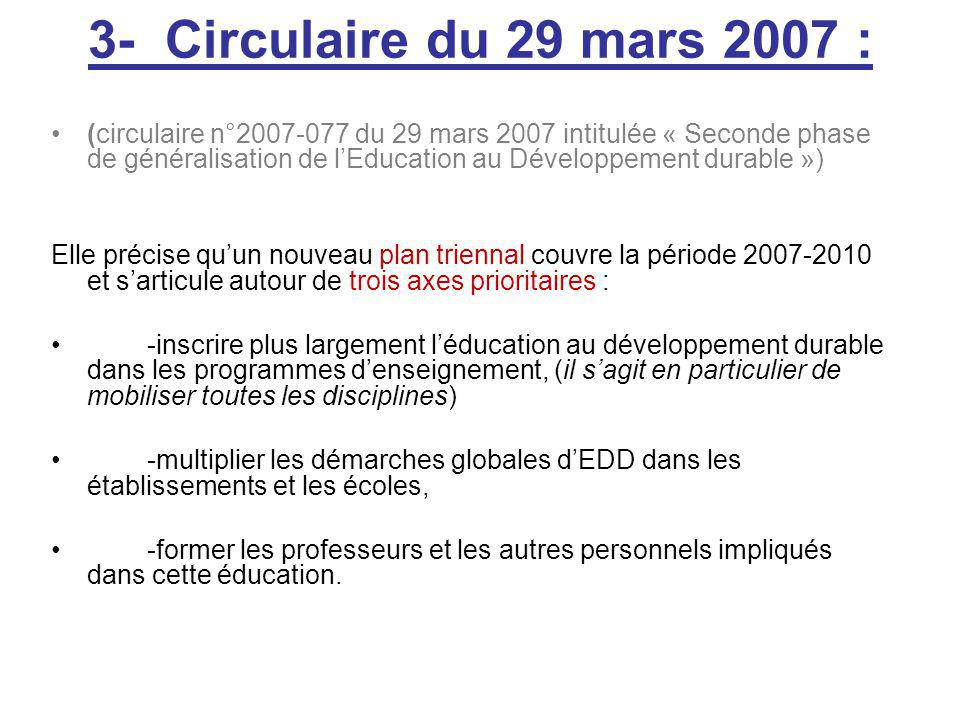 3- Circulaire du 29 mars 2007 :