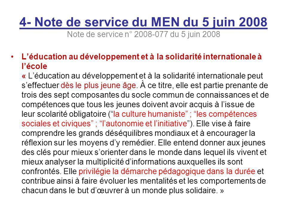 4- Note de service du MEN du 5 juin 2008 Note de service n° 2008-077 du 5 juin 2008