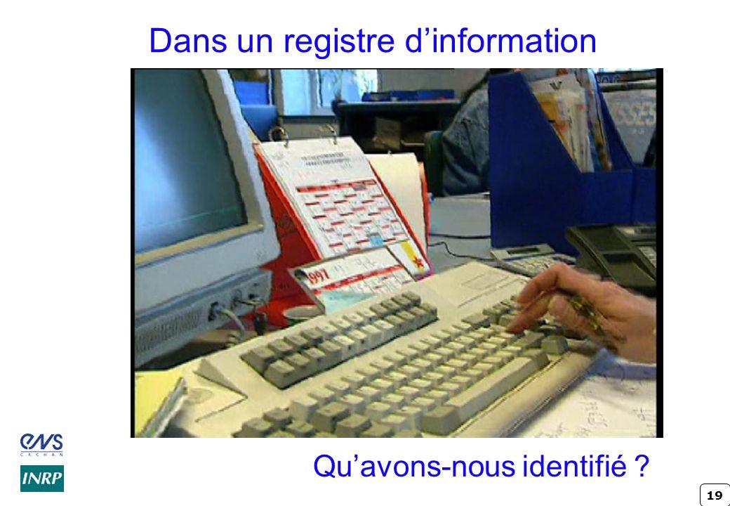 Dans un registre d'information