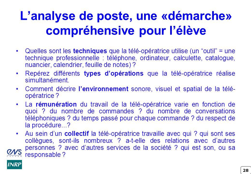 L'analyse de poste, une «démarche» compréhensive pour l'élève