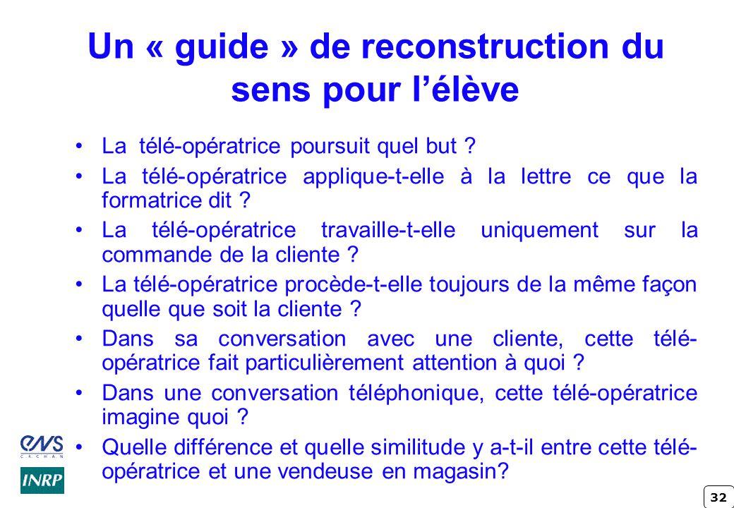Un « guide » de reconstruction du sens pour l'élève