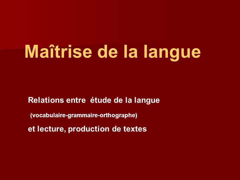 Maîtrise de la langue Relations entre étude de la langue
