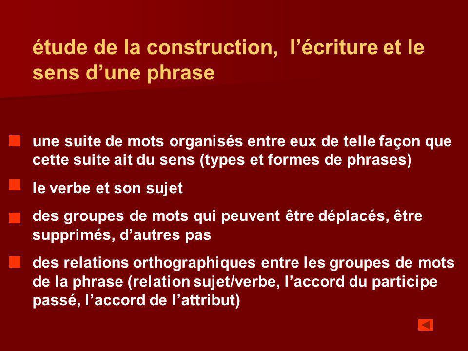 étude de la construction, l'écriture et le sens d'une phrase