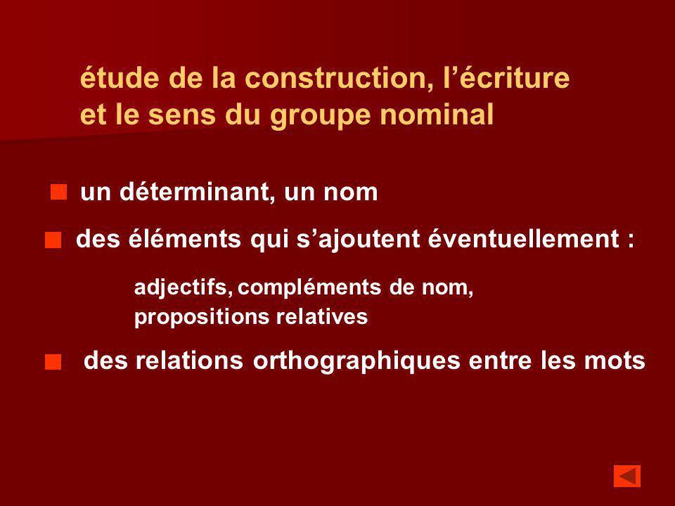 étude de la construction, l'écriture et le sens du groupe nominal