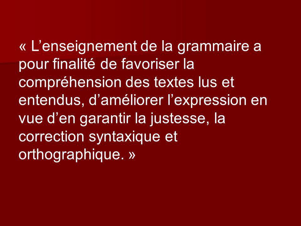 « L'enseignement de la grammaire a pour finalité de favoriser la compréhension des textes lus et entendus, d'améliorer l'expression en vue d'en garantir la justesse, la correction syntaxique et orthographique. »