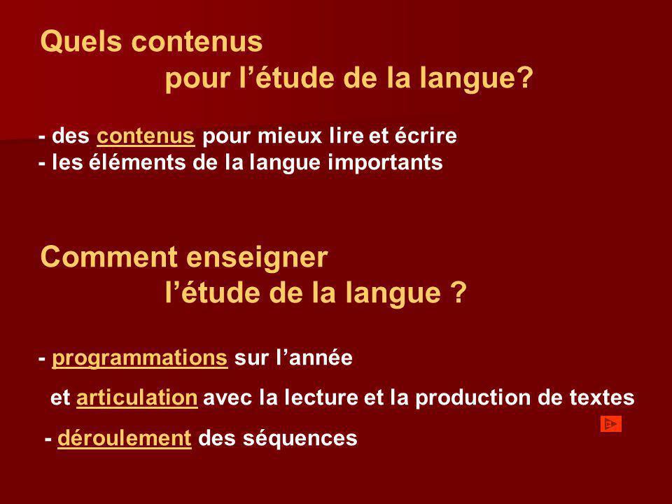 pour l'étude de la langue