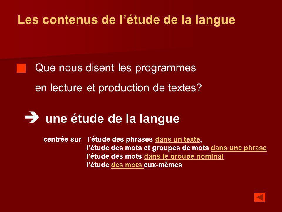  une étude de la langue Les contenus de l'étude de la langue