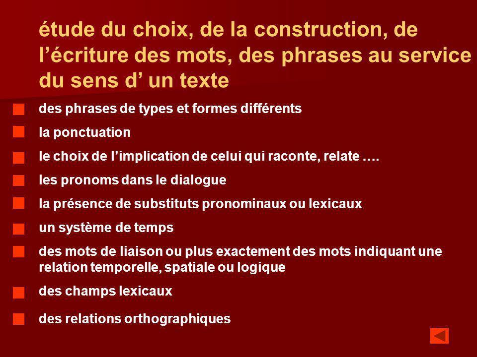 étude du choix, de la construction, de l'écriture des mots, des phrases au service du sens d' un texte