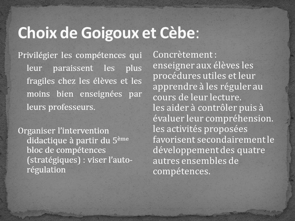 Choix de Goigoux et Cèbe: