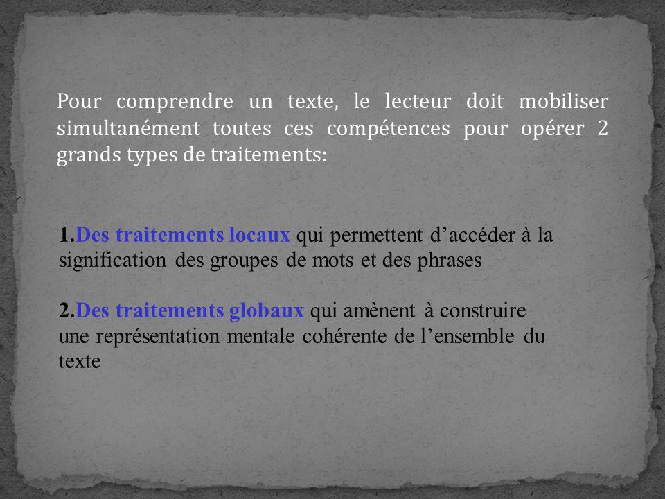 Pour comprendre un texte, le lecteur doit mobiliser simultanément toutes ces compétences pour opérer 2 grands types de traitements: