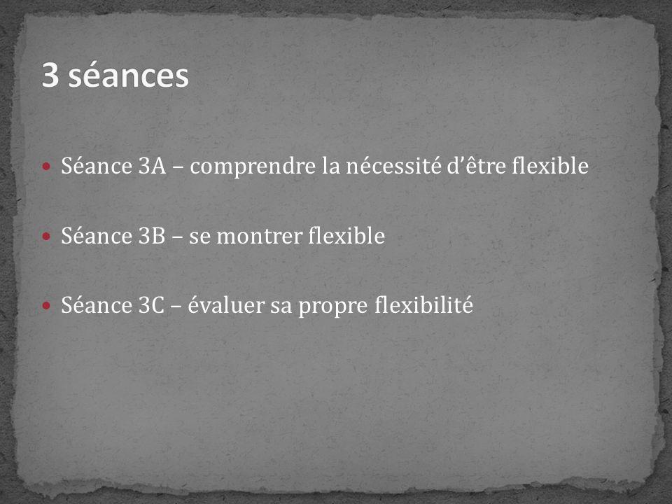 3 séances Séance 3A – comprendre la nécessité d'être flexible