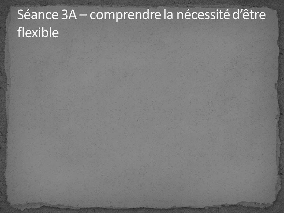 Séance 3A – comprendre la nécessité d'être flexible