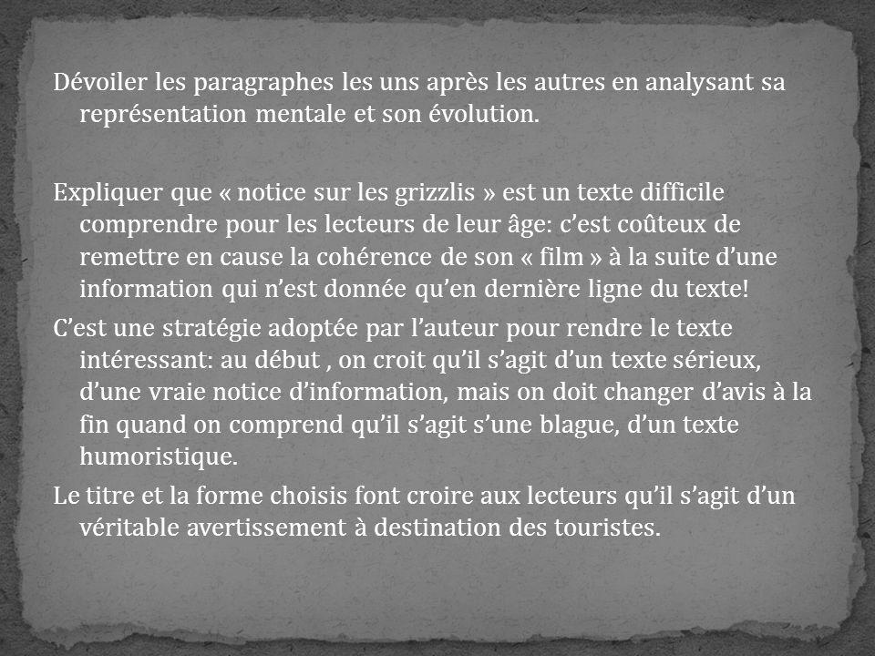 Dévoiler les paragraphes les uns après les autres en analysant sa représentation mentale et son évolution.
