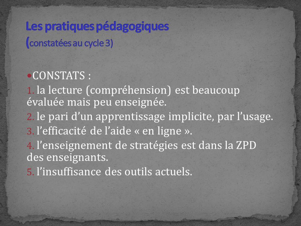 Les pratiques pédagogiques (constatées au cycle 3)