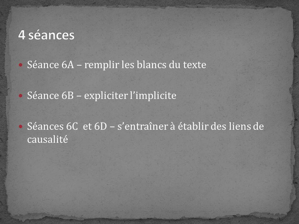 4 séances Séance 6A – remplir les blancs du texte