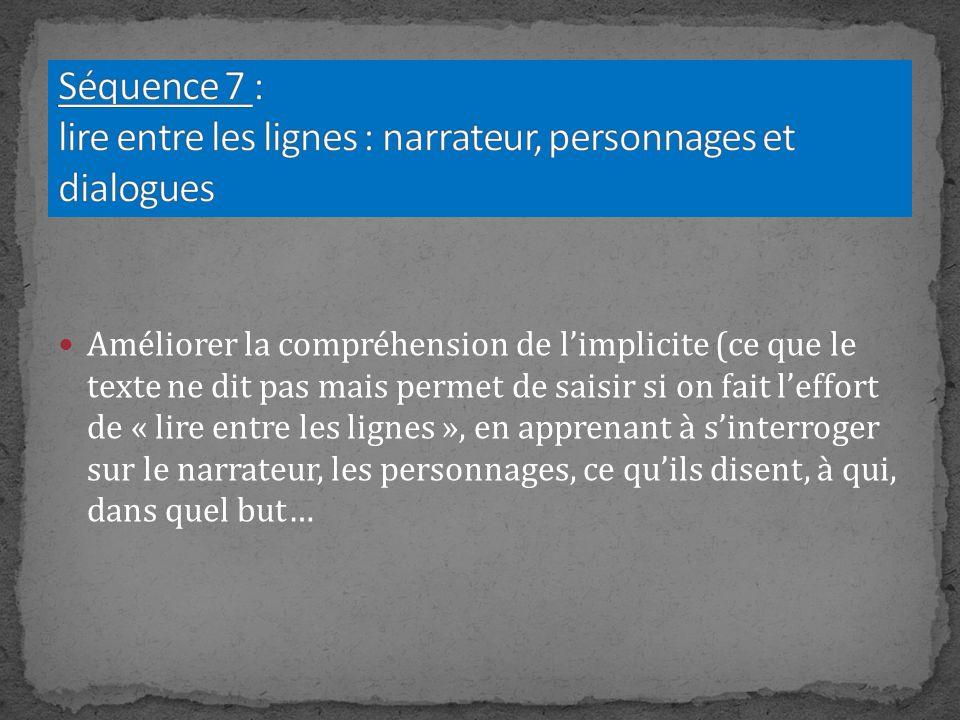 Séquence 7 : lire entre les lignes : narrateur, personnages et dialogues